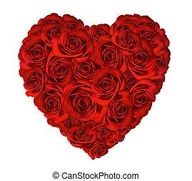 hart, rozen, gemaakt, uit, valentijn