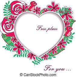 hart, rozen, tekst, ruimte