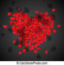 hart, rozenblaadjes