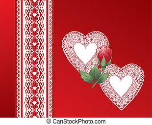 hart, satijn, kant, cadeau, ouderwetse , rood