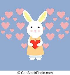 hart, schattig, konijn