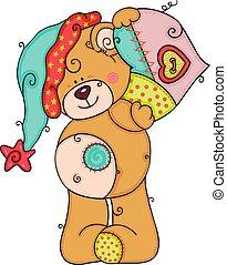 hart, schattig, teddy beer, lappen, vasthouden, hoedje