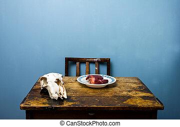 hart, schedel, onl, houten bureau, chêvre