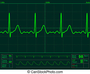 hart, scherm, monitor