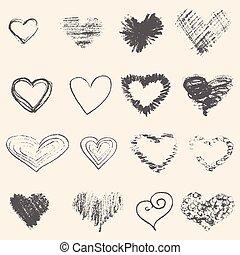 hart, schets, set, grijze