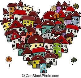 hart, schets, stad, liefde, vorm, ontwerp, jouw