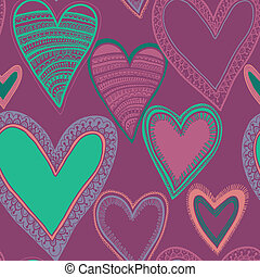 hart, seamless, kleurrijke, model