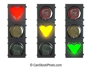 hart, set, gevormd, licht, vrijstaand, gele, verkeer, achtergrond, groen wit, lampen, rood