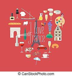 hart, set, iconen, reizen, frankrijk, vorm, vector