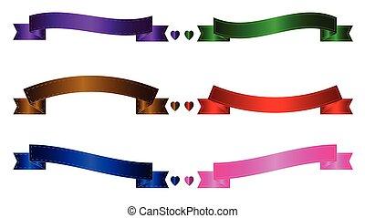 hart, set, kleurrijke, linten, lint