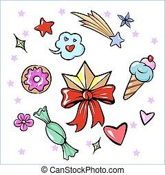 hart, set, ster, diadeem, icecream, sticker, vrijstaand, versuikeren, zoetigheden, bloem, modieus, witte , plezier