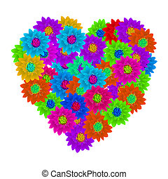 Hart shape floral bouquet, Valentine background
