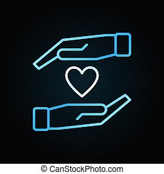 hart silhouet, kleurrijke, meldingsbord, vector, handen, of, pictogram