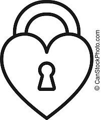 hart silhouet, slot, lock., vrijstaand, achtergrond., vorm, black , gesloten, wit lijnen, pictogram