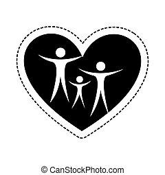 hart, silhouette, gezin