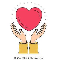 hart, silhouette, kleurrijke, symbool, handen, zwevend, liefdadigheid