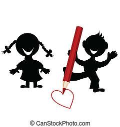 hart, silhouettes, tekening, achtergrond, kinderen