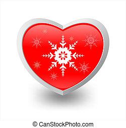 hart, sneeuwvlok, illustratie