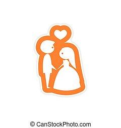 hart, sticker, bruidegom, bruid, papier, achtergrond, witte