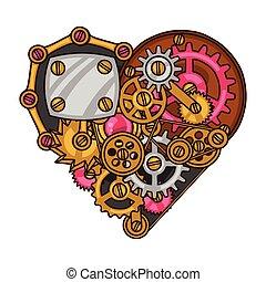 hart, stijl, collage, steampunk, metaal, toestellen, doodle