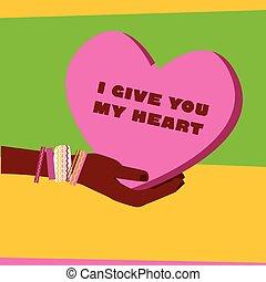 hart, stijl, concept, liefde, idea., poster, eenvoudig, poster, beeld, valentines, illustratie, hand, uitnodiging, vector, cart., handen, silhouette, dag, pop-art, pictogram