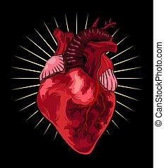 hart, stijl, tatoeëren, illustratie, achtergrond., vector, black , menselijk