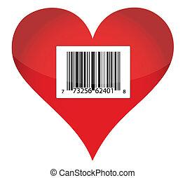 hart, streepjescode, ontwerp, illustratie