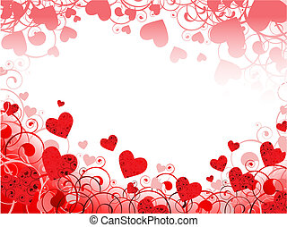 hart, swirls, frame, copyspace, rood