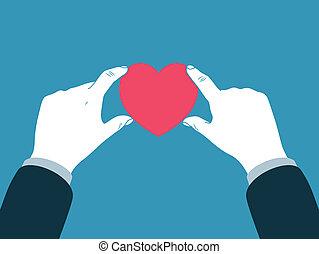 hart, symbool, holdingshand