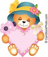 hart, teddy, meisje, beer, schattig