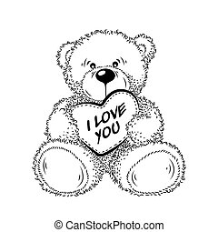 hart, tekening, beer, teddy
