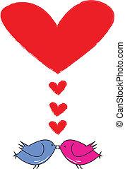 hart, twee, kus, v, vogels, rood