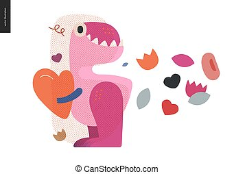 hart, valentijn, vasthouden, dinosaurus, -, grafiek