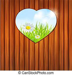 hart, valentine, houten, achtergrond, vakantie, dag