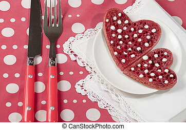 hart, valentine, pannekoekjes, vorm, zuur, dag, rood, room