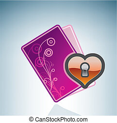 hart, valentine/love, kaart, gesloten, &