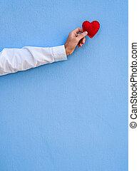 hart, valentines, achtergrond, rood