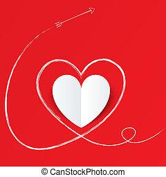 hart, valentines, day., papier, richtingwijzer, witte , path.