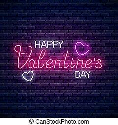 hart, valentines, tekst, shapes., neon, groet, illustratie, valentijn, gloeiend, vector, dag, kaart, vrolijke