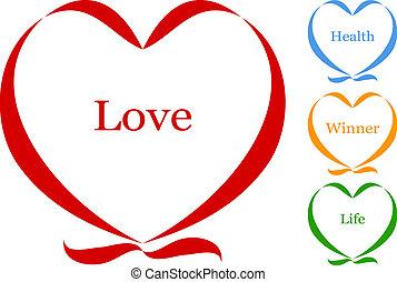 hart, van, lint, met, tekst, vector