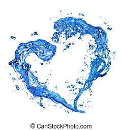 hart, van, water, gespetter, met, bellen, vrijstaand, op wit