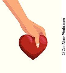 hart, vasthouden, kleurrijke, achtergrond, handen, witte