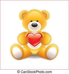 hart, vector, beer, illustratie, teddy