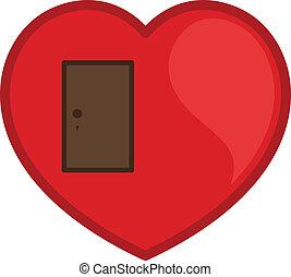hart, vector, deur, gesloten