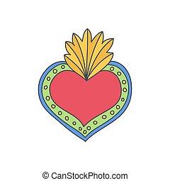 hart, vector, doodle, heilig, pictogram