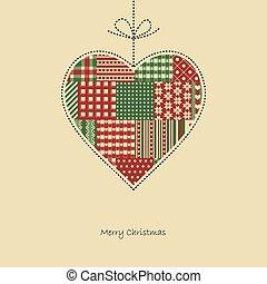 hart, vector, -, kerstmis kaart