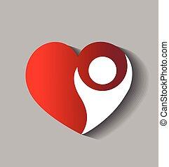 hart, vector, liefde, figuur, logo