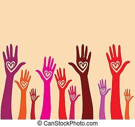 hart, verenigd, zoals, mensen, seamless, hand, achtergrond.