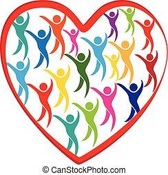 hart, verscheidenheid, liefde, mensen, media, sociaal, logo, vergadering
