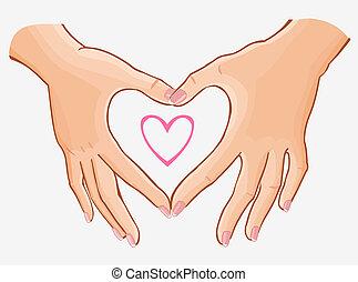 hart, vervaardiging, van een vrouw, handen, illustratie,...